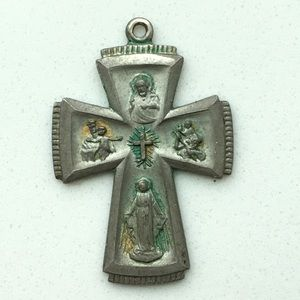 Antique catholic cross pendant